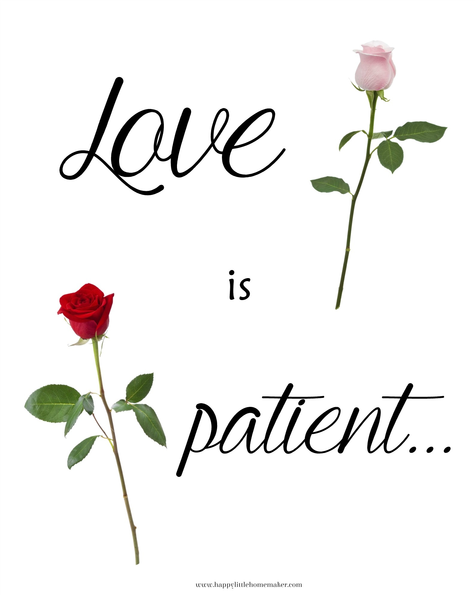 Love Is Patient Free Printable - Happy Little Homemaker - Love Is Patient Free Printable