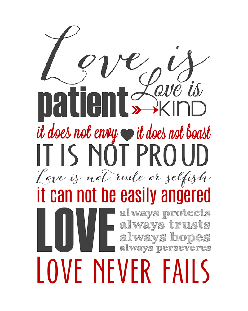 Love Is Patient Subway Art Printable {1 Corinthians 13} | Holiday - Love Is Patient Free Printable