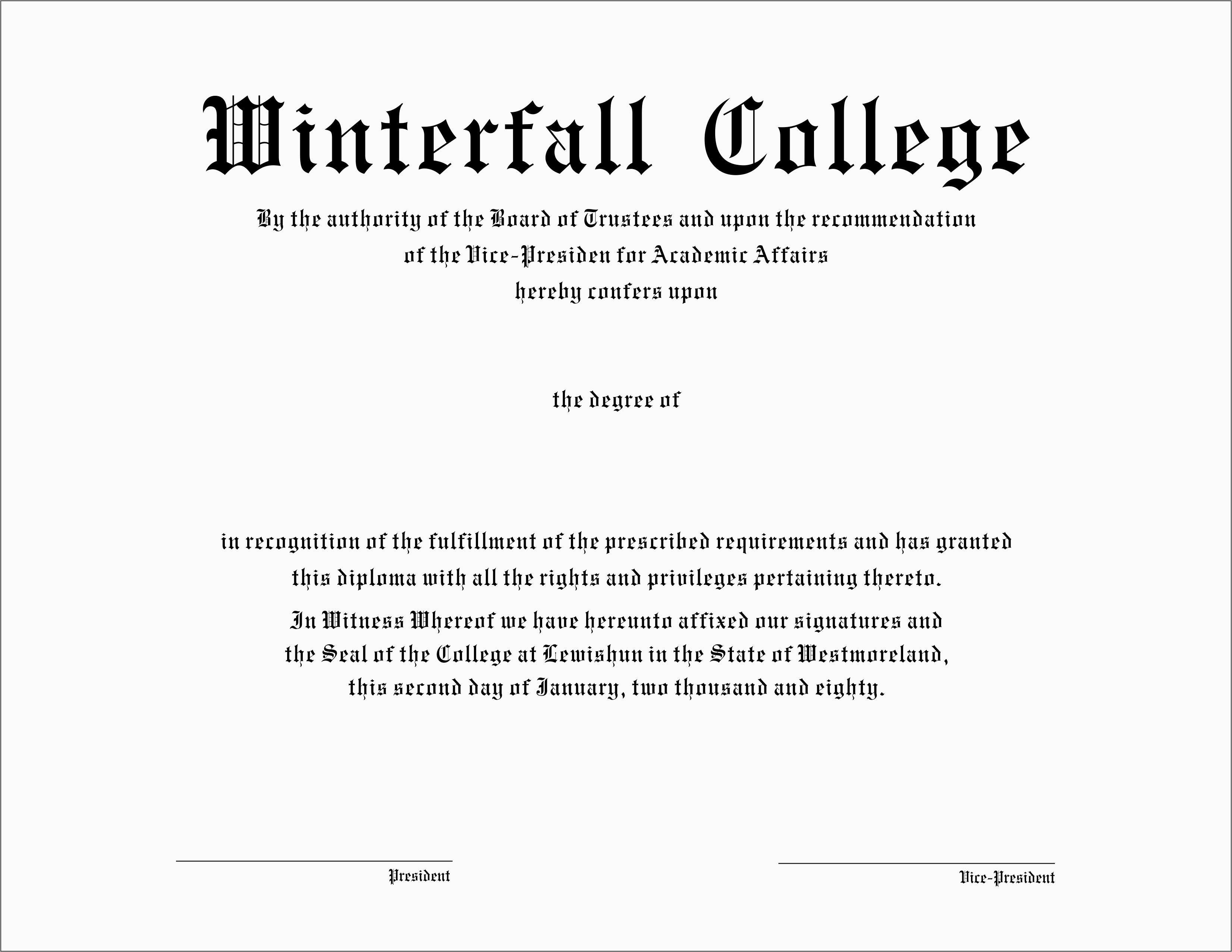 Lovely Free Fake High School Diploma Templates | Best Of Template - Free Printable College Degrees
