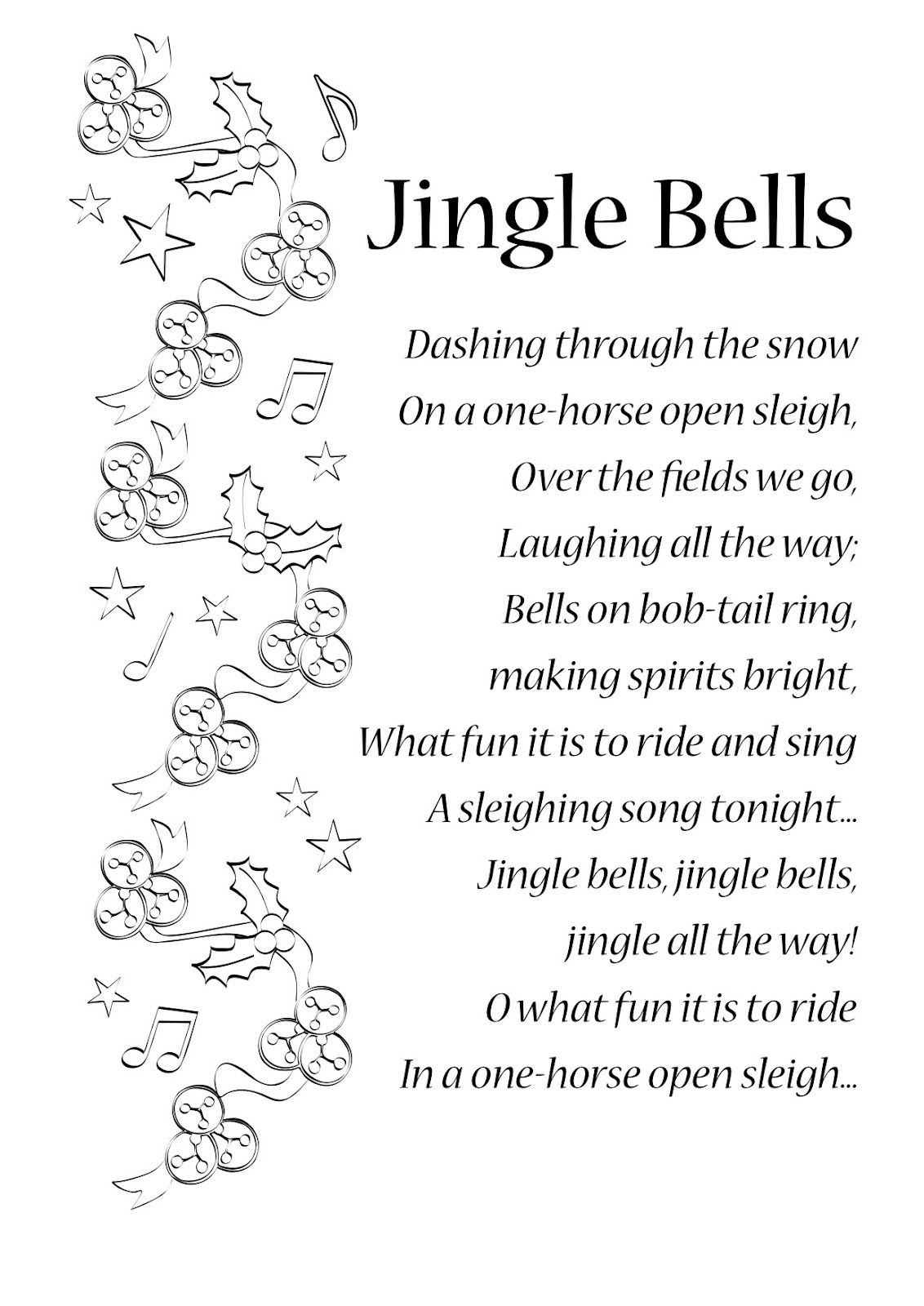 Lyrics To Jingle Bells | English Songs And Rhymes: Lyrics | Songs - Free Printable Lyrics To Christmas Carols