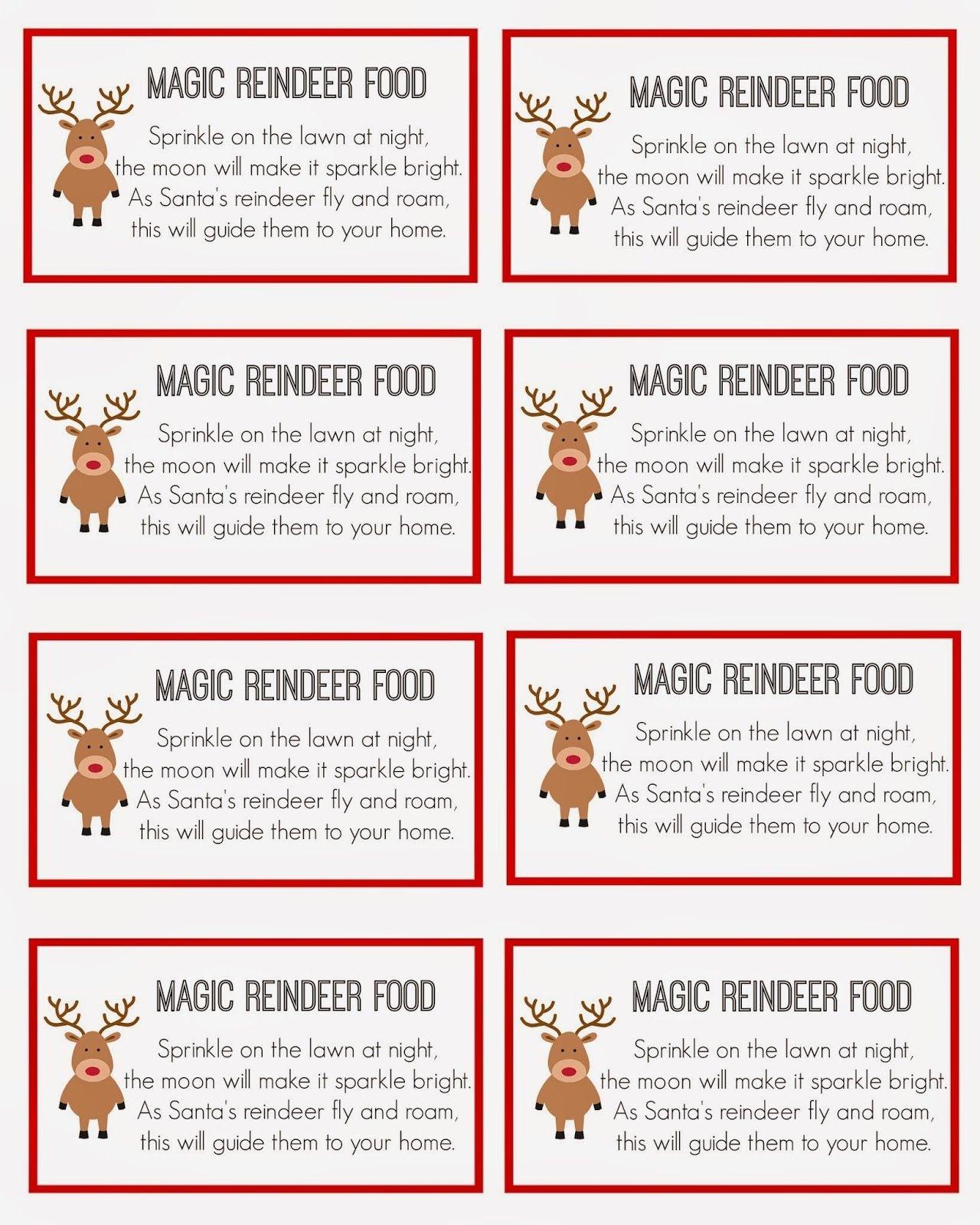Magic Reindeer Food | Christmas | Reindeer Food, Magic Reindeer Food - Free Printable Reindeer Dust Poem