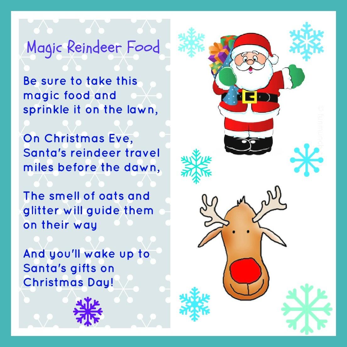 Magic Reindeer Food Free Printable - Momhomeguide - Free Printable Reindeer Dust Poem