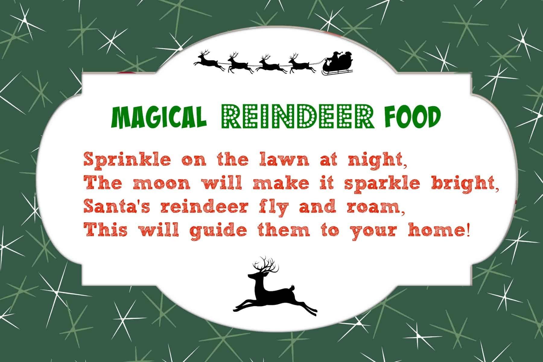 Magical Reindeer Food Recipe + Free Printable Poem Tag | Mama Cheaps - Free Printable Reindeer Dust Poem