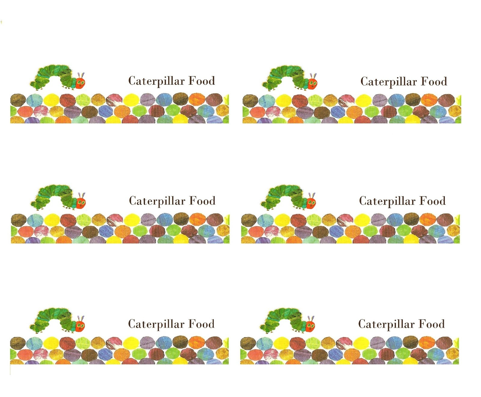 Make It Cozee: Very Hungry Caterpillar Party Favor Printables - The Very Hungry Caterpillar Free Printables