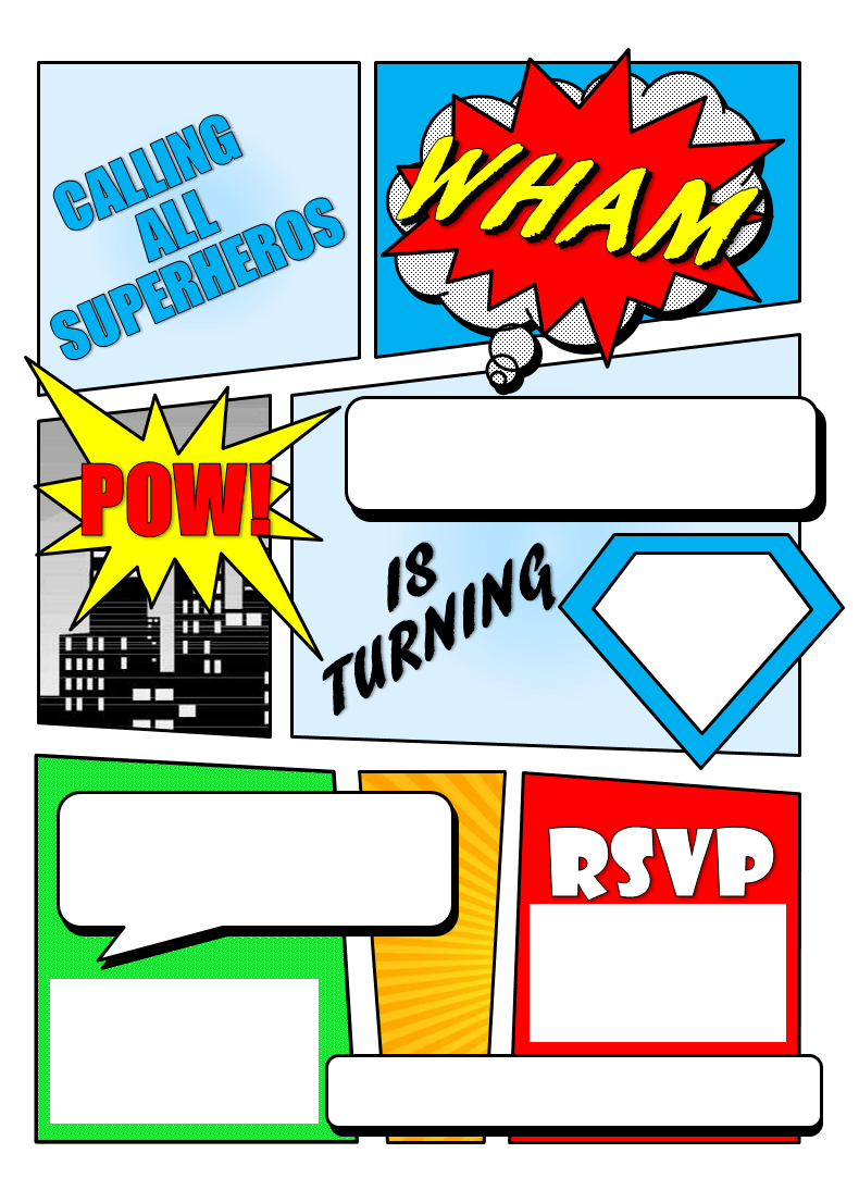 Make Your Own Comic Book Printable | Superhero Comic Book Party - Free Printable Superman Invitations