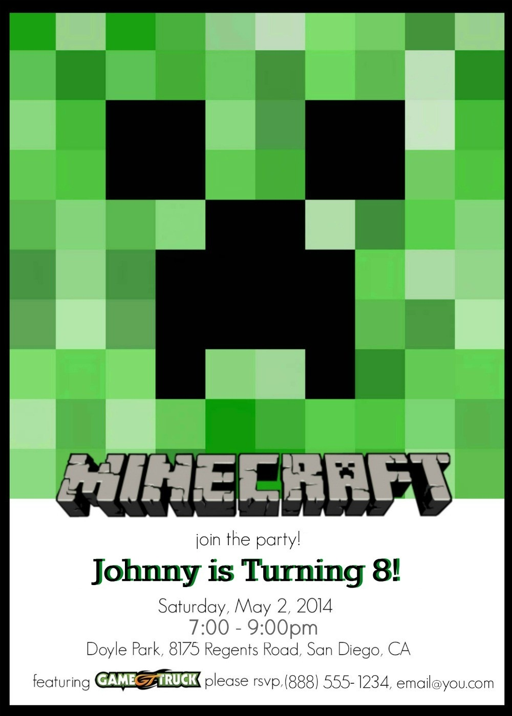 Make Your Own Custom Printable Minecraft Party Invitations - Free Printable Minecraft Birthday Party Invitations Templates