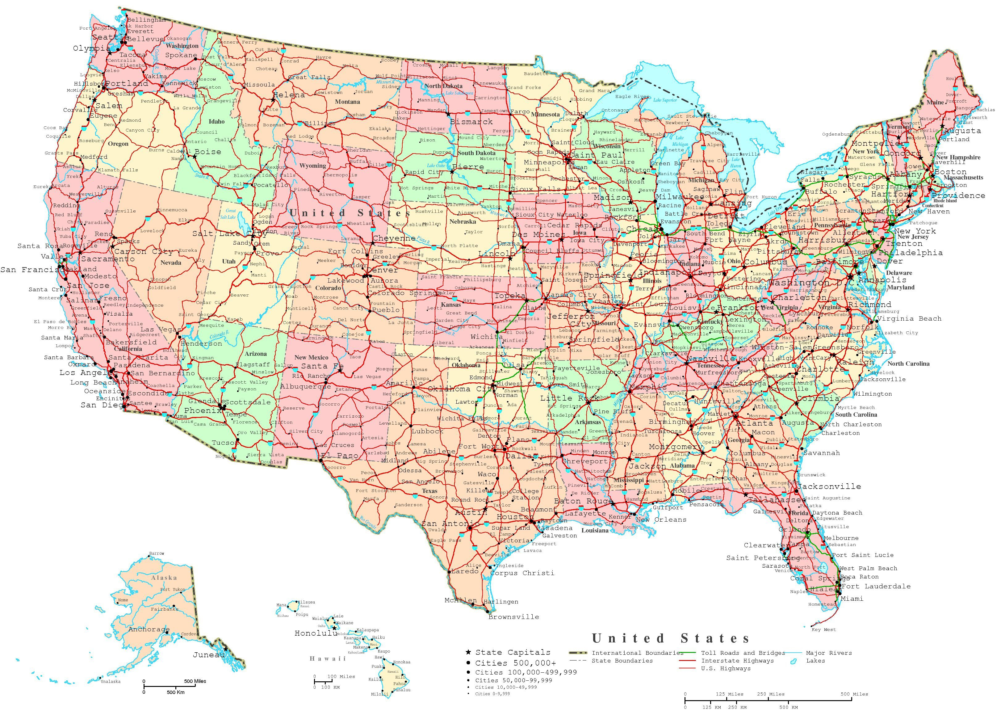 Map Of The Us States | Printable United States Map | Jb's Travels - Free Printable State Maps