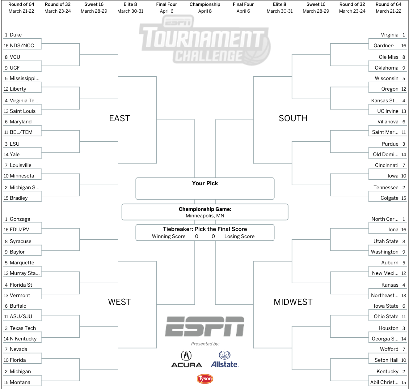 March Madness 2019: Get Your Printable Ncaa Bracket From Espn - Free Printable March Madness Bracket