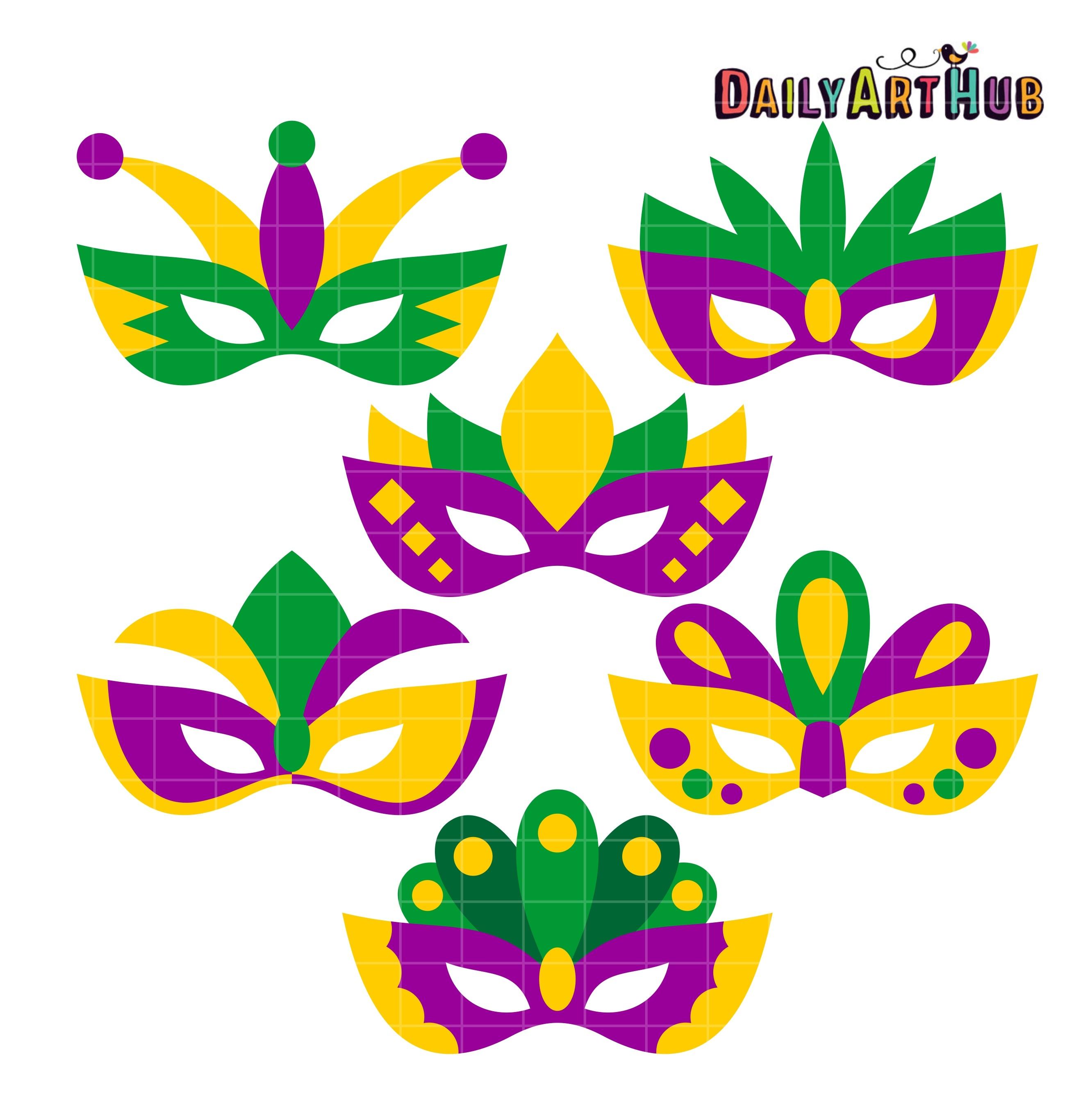 Mardi Gras Masks Clip Art Set – Daily Art Hub – Free Clip Art Everyday - Free Printable Mardi Gras Masks
