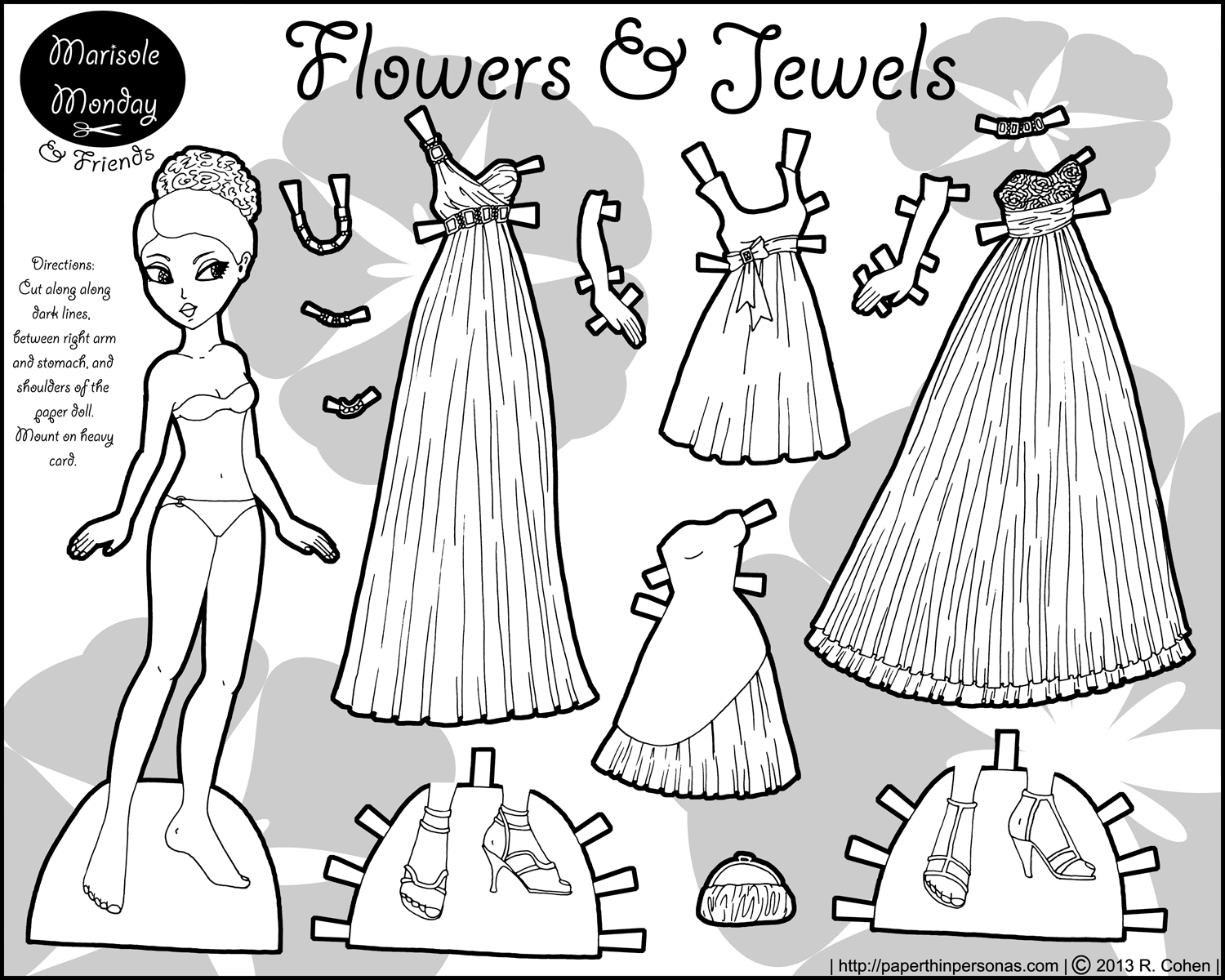Marisole Monday Paper Doll Coloring Pages. Black And White And Color - Free Printable Paper Dolls Black And White