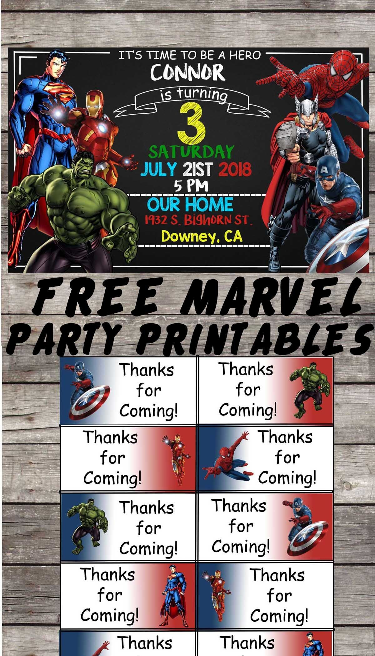 Marvel | Avengers | Birthday Party Printable Files | Invitations - Free Avengers Birthday Party Printables