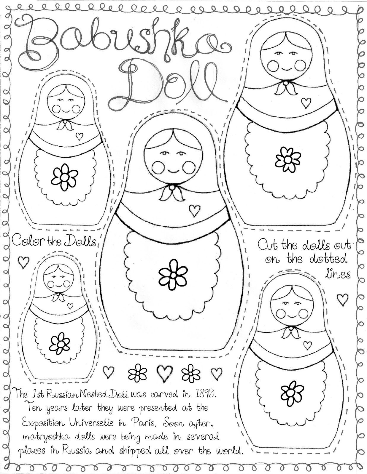 "Matryoshka Doll"" Printable For ""around The World"" Culture Study - Free Printable Paper Dolls From Around The World"