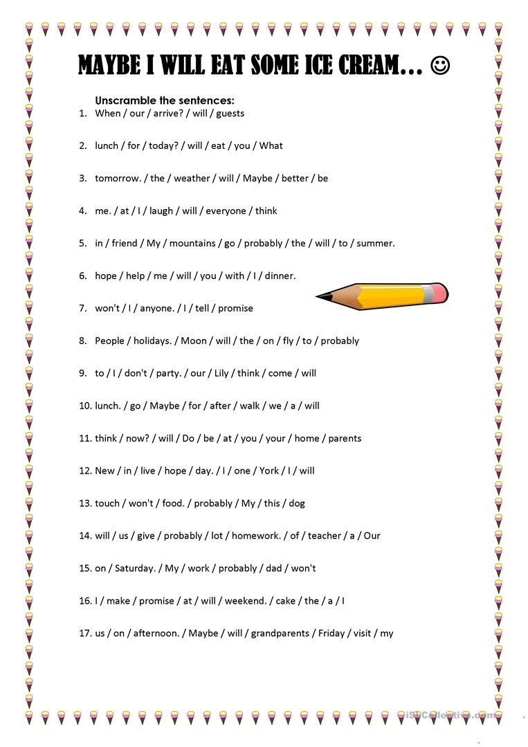 Maybe I Will Eat Some Ice Cream Worksheet - Free Esl Printable - Free Printable Ice Cream Worksheets