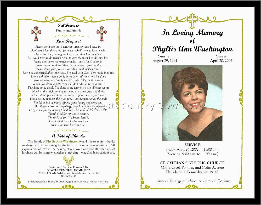 Memorial Cards For Funeral Template Free Great Free Funeral Program - Free Printable Funeral Programs