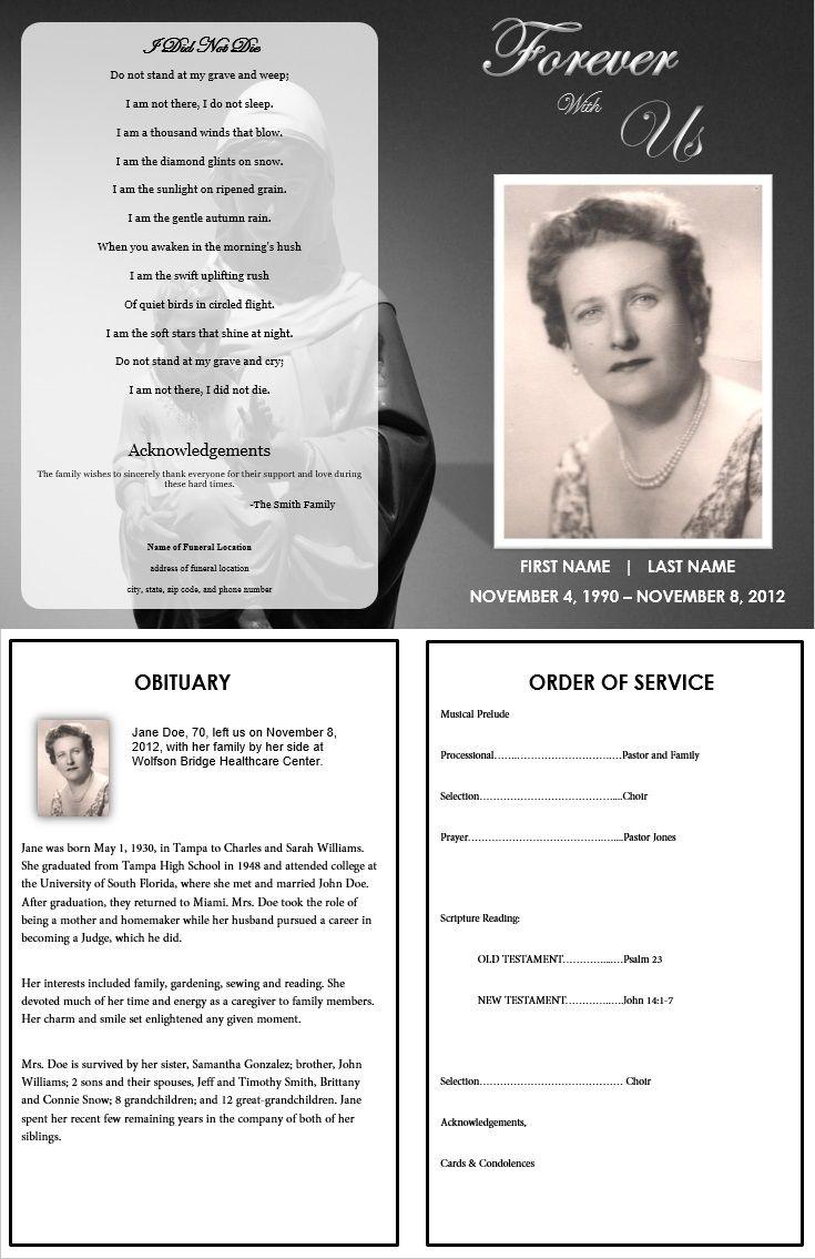 Memorial Pamphlet Template Free - Kaza.psstech.co - Free Printable Funeral Programs