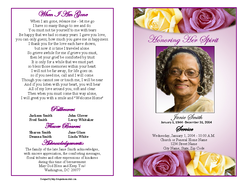 Memorial Service Programs Sample | Choose From A Variety Of Cover - Free Printable Funeral Program Template