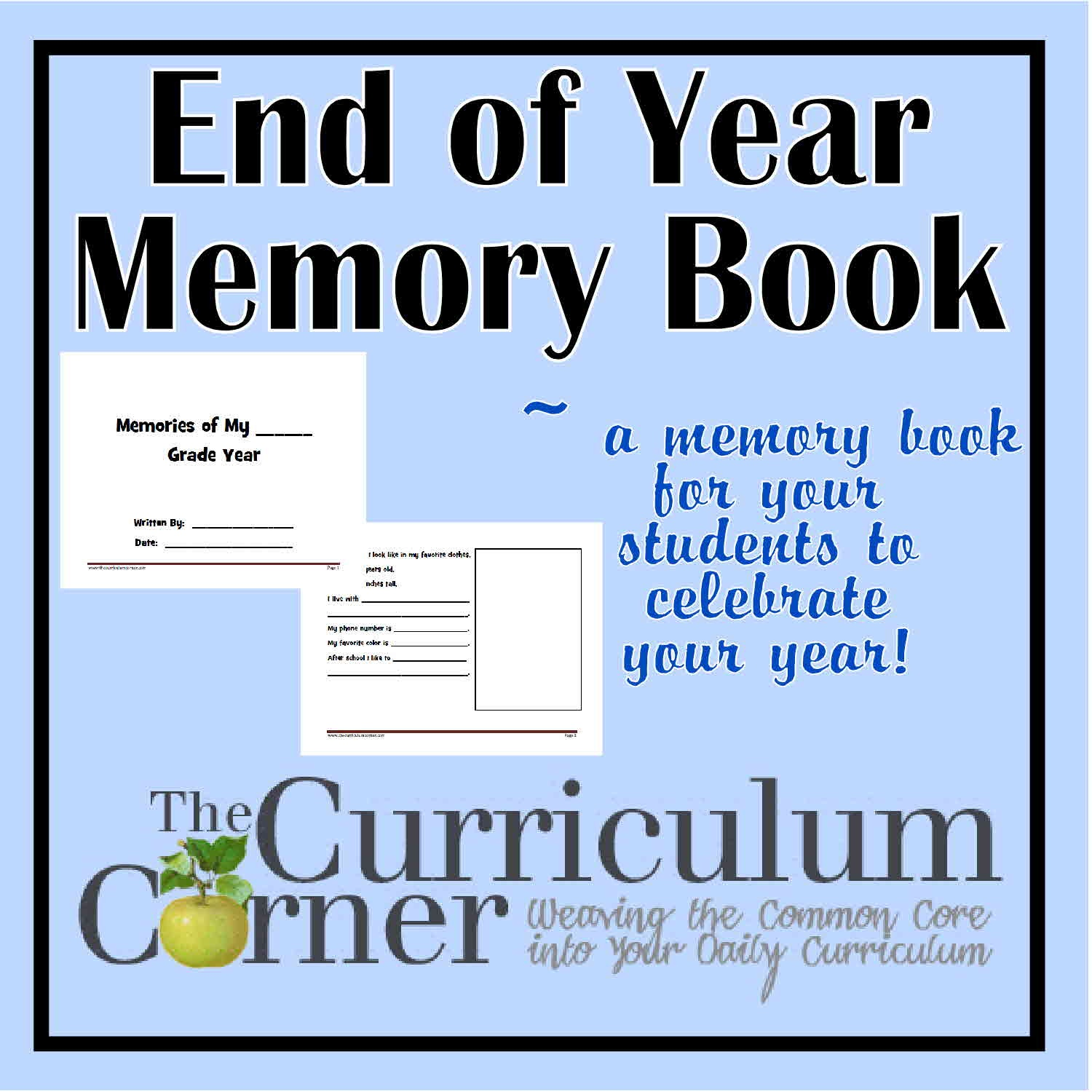 Memories Of My Year Free Printable Book For The Classroom - Free Printable Memory Book Templates