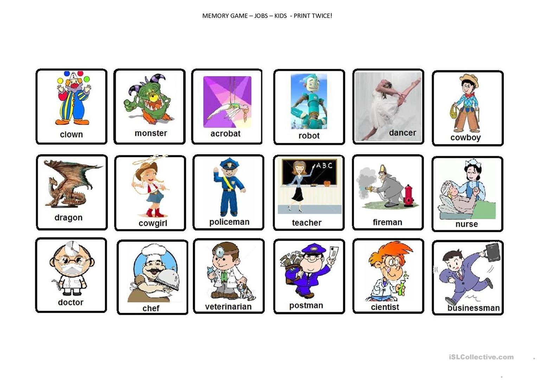 Memory Game - Jobs Worksheet - Free Esl Printable Worksheets Made - Free Printable Memory Exercises