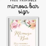 Mimosa Bar Free Watercolor Flowers Printable | Bridal Shower Games   Free Sangria Bar Sign Printable