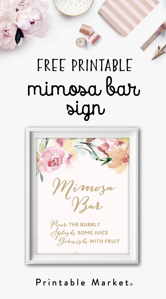 Mimosa Bar Free Watercolor Flowers Printable   Bridal Shower Games - Free Sangria Bar Sign Printable