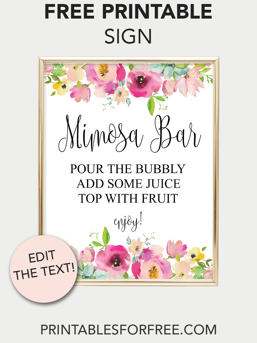 Mimosa Bar Printable Sign (Pink Floral In 2019 | Baby D | Mimosa Bar - Free Sangria Bar Sign Printable