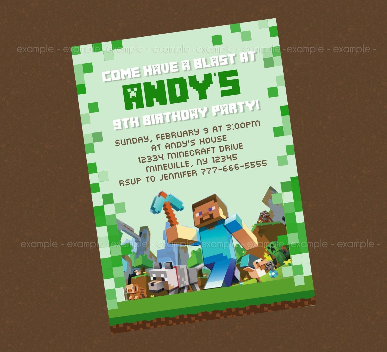 Minecraft Birthday Party Invitation Templates - Invitation Templates - Free Printable Minecraft Birthday Party Invitations Templates