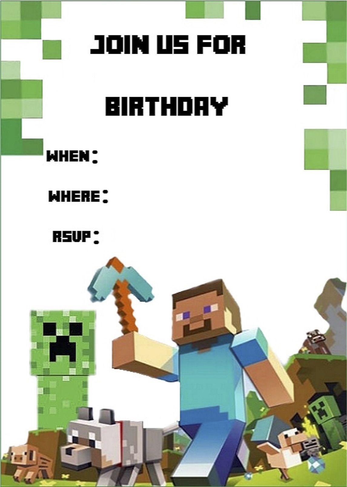 Minecraft Invite | Daan - Minecraft Invitations, Minecraft Birthday - Free Printable Minecraft Birthday Party Invitations Templates