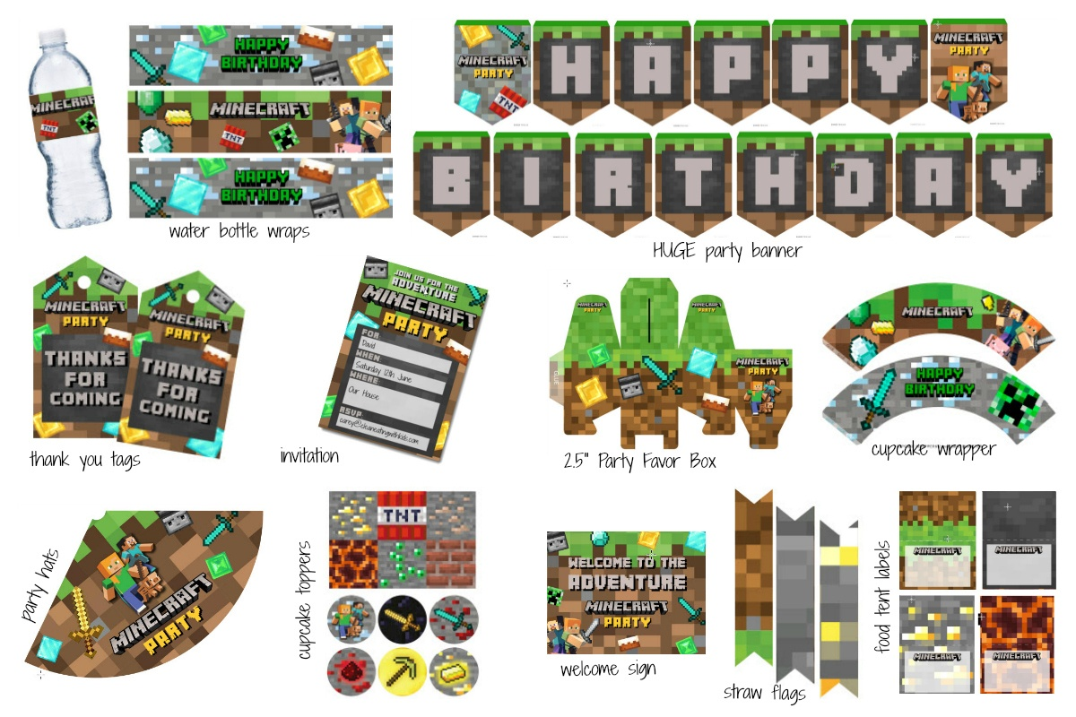 Minecraft Party Pack - Clean Eating With Kids - Free Printable Minecraft Cupcake Toppers And Wrappers