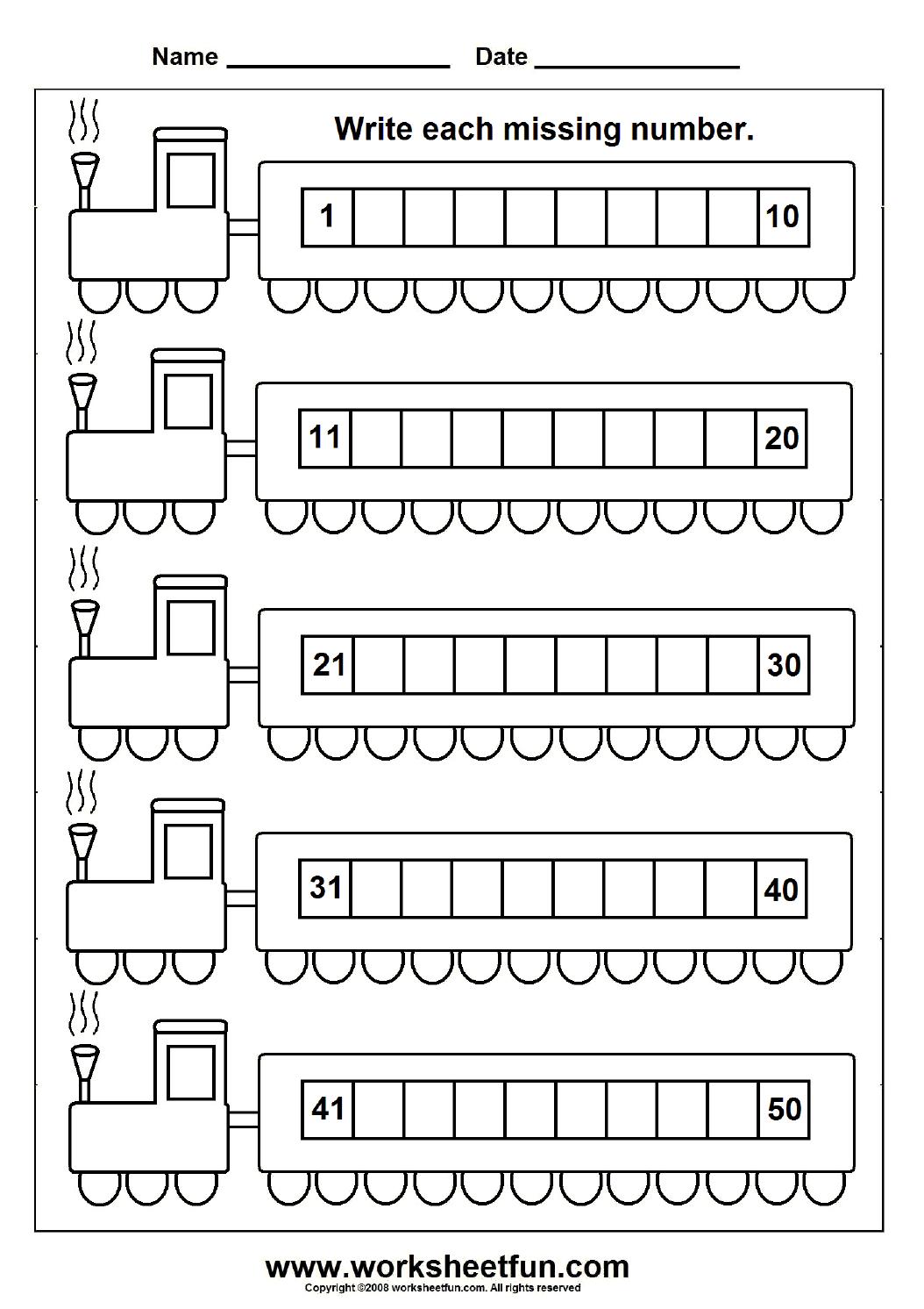 Missing Numbers (1-50) - 6 Worksheets | Printable Worksheets - Free Printable Numbers 1 50