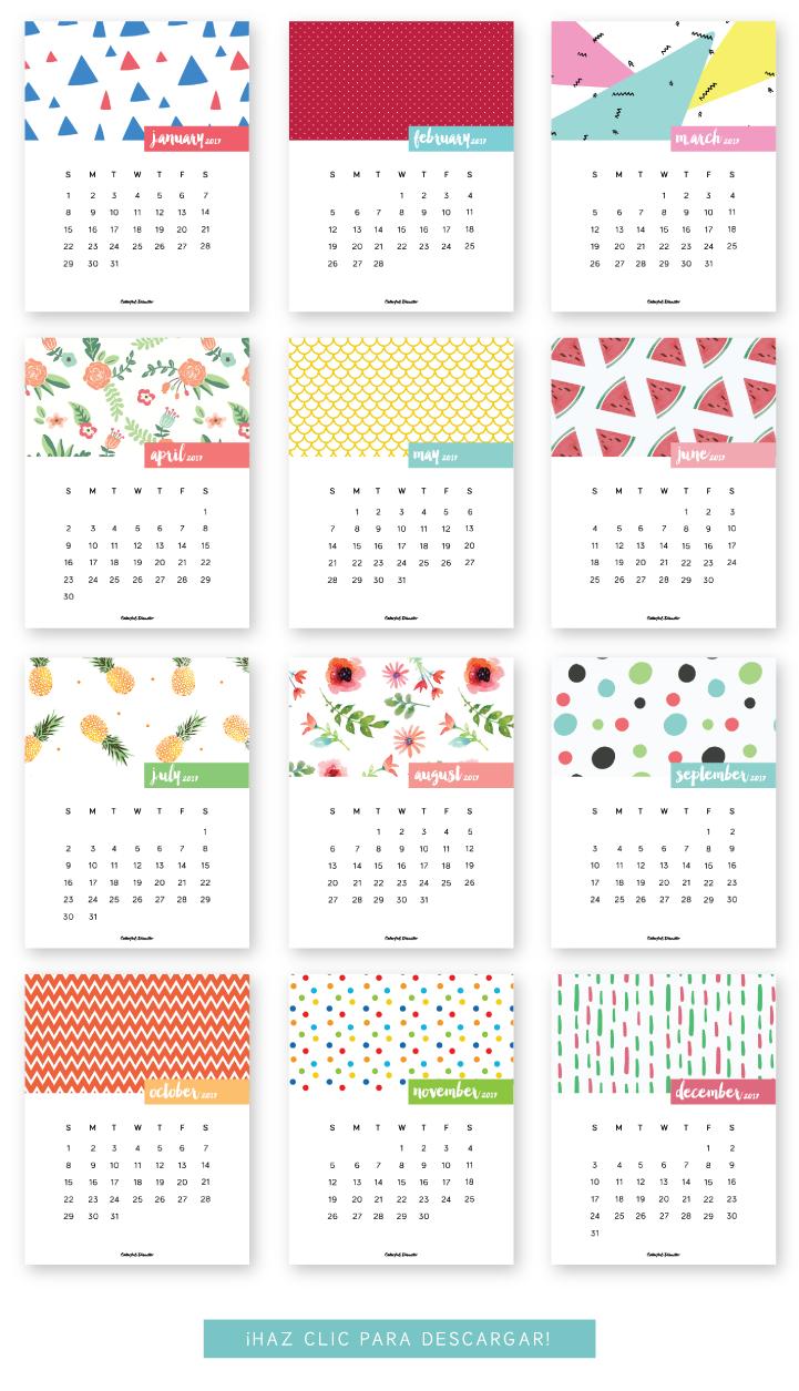 Monthly Printable Calendar 2017 | Clever Ideas | Calendar 2017, Free - Free Printable Agenda 2017