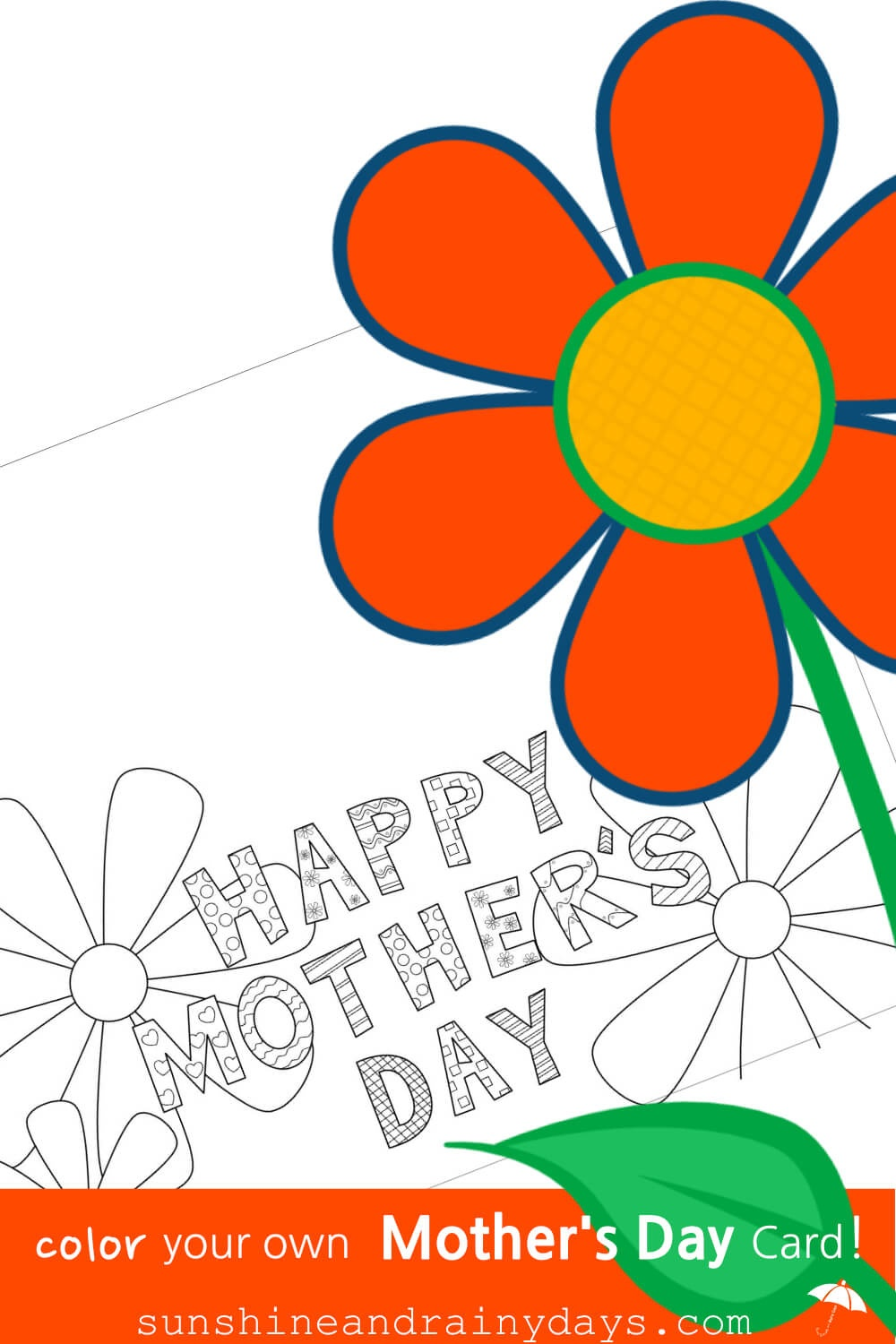 Mother's Day Coloring Card - Sunshine And Rainy Days - Free Printable Funny Mother's Day Cards