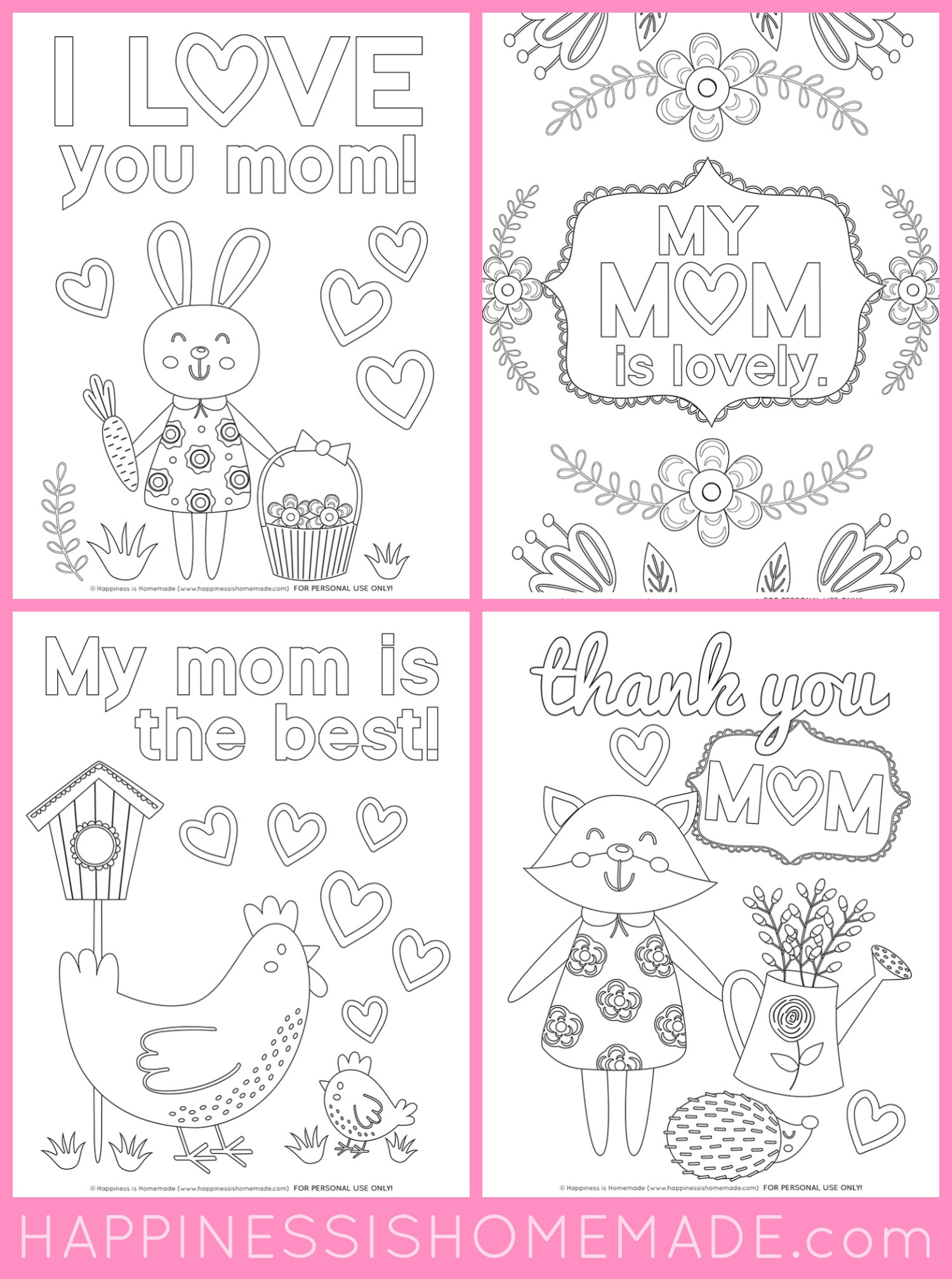 Mother's Day Coloring Pages - Free Printables - Happiness Is Homemade - Free Printable Mothers Day Coloring Sheets