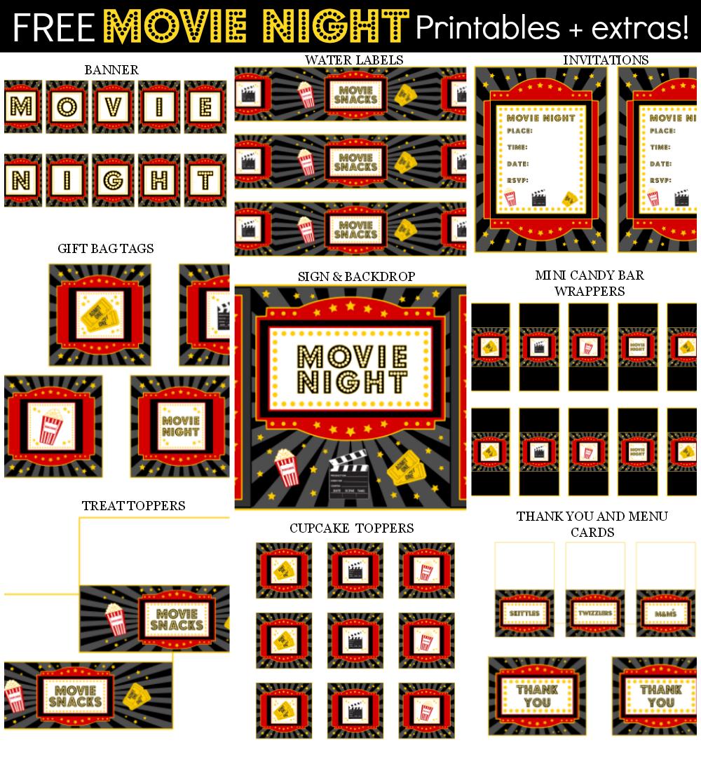 Movie Night Party Printable Items | Teacher Appreciation Week - Free Movie Night Printables