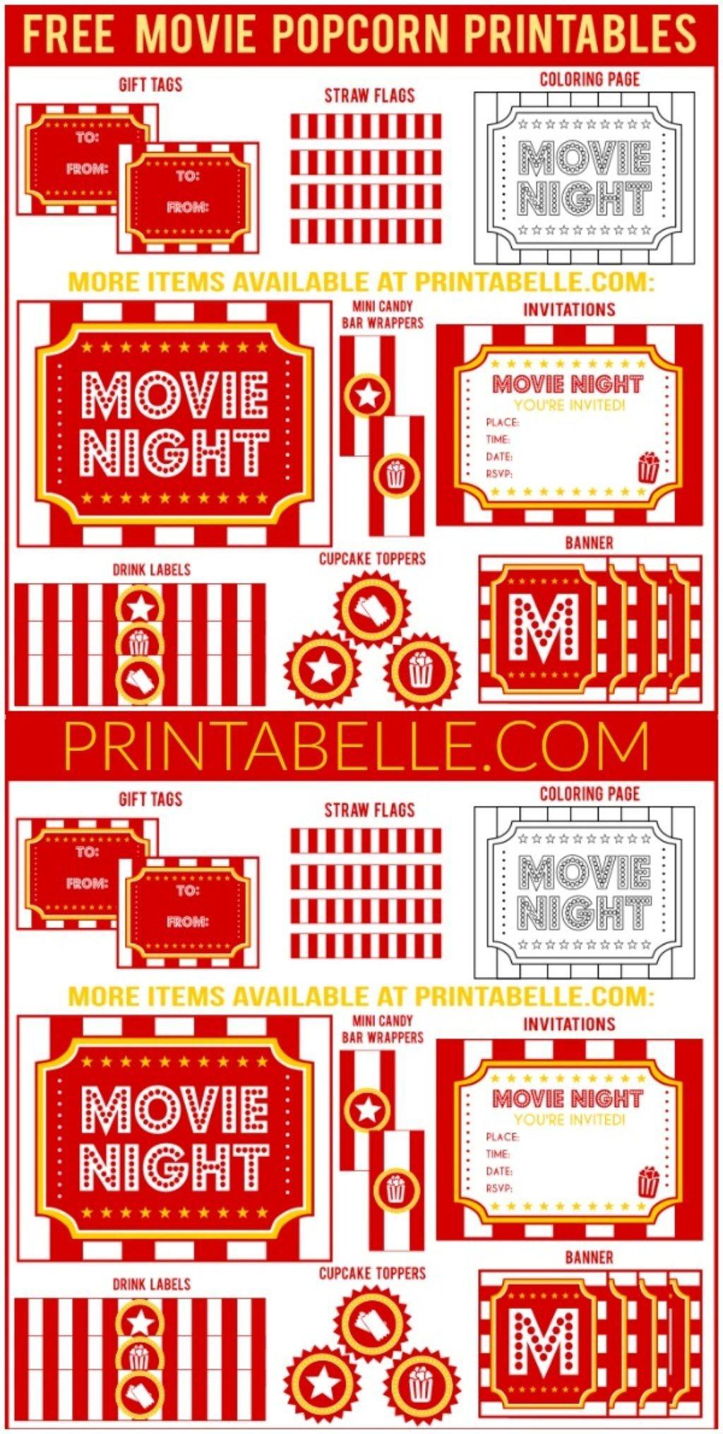 Movie Night Popcorn Printables | Free Party Printables And More - Free Movie Night Printables