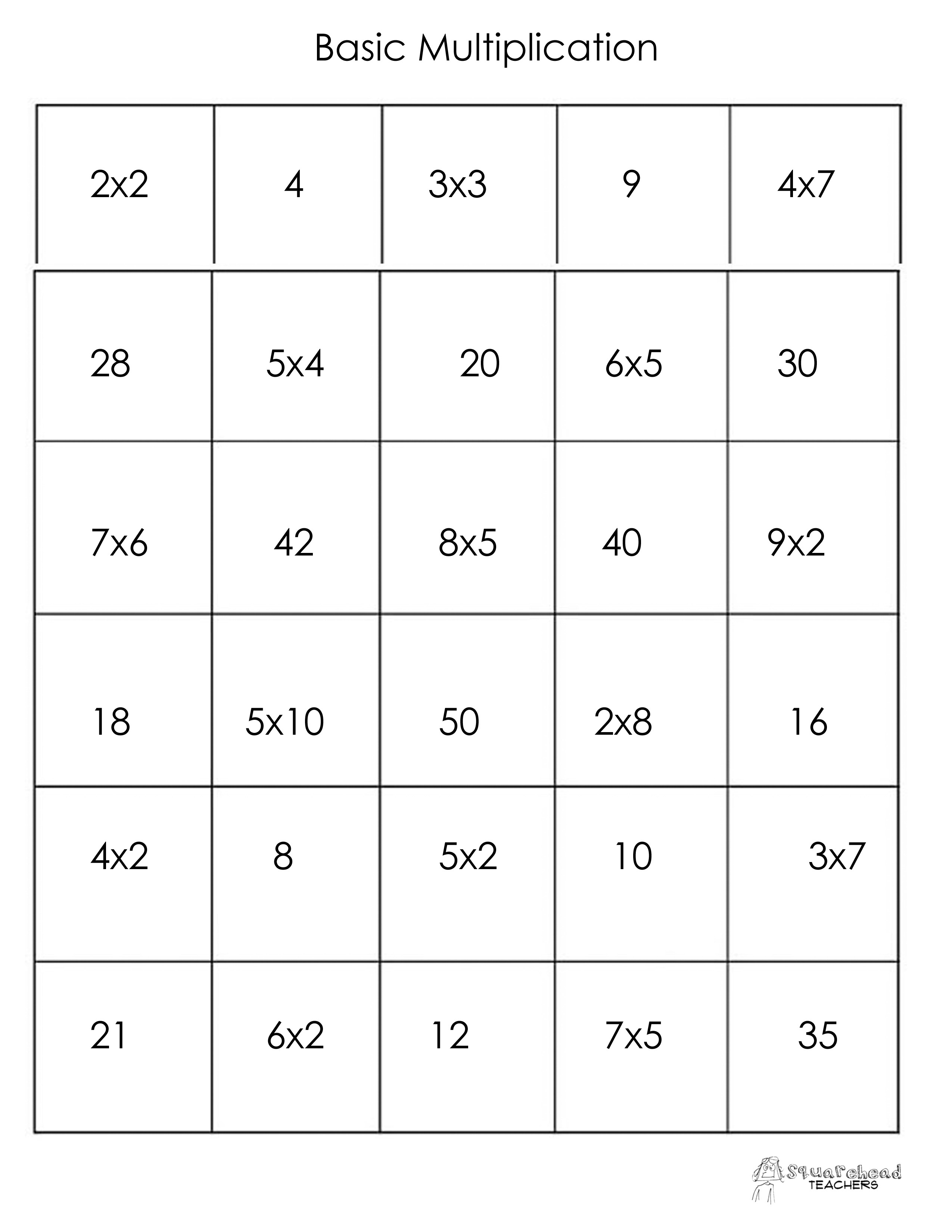 Multiplication | Squarehead Teachers | Page 2 - Free Printable Multiplication Bingo