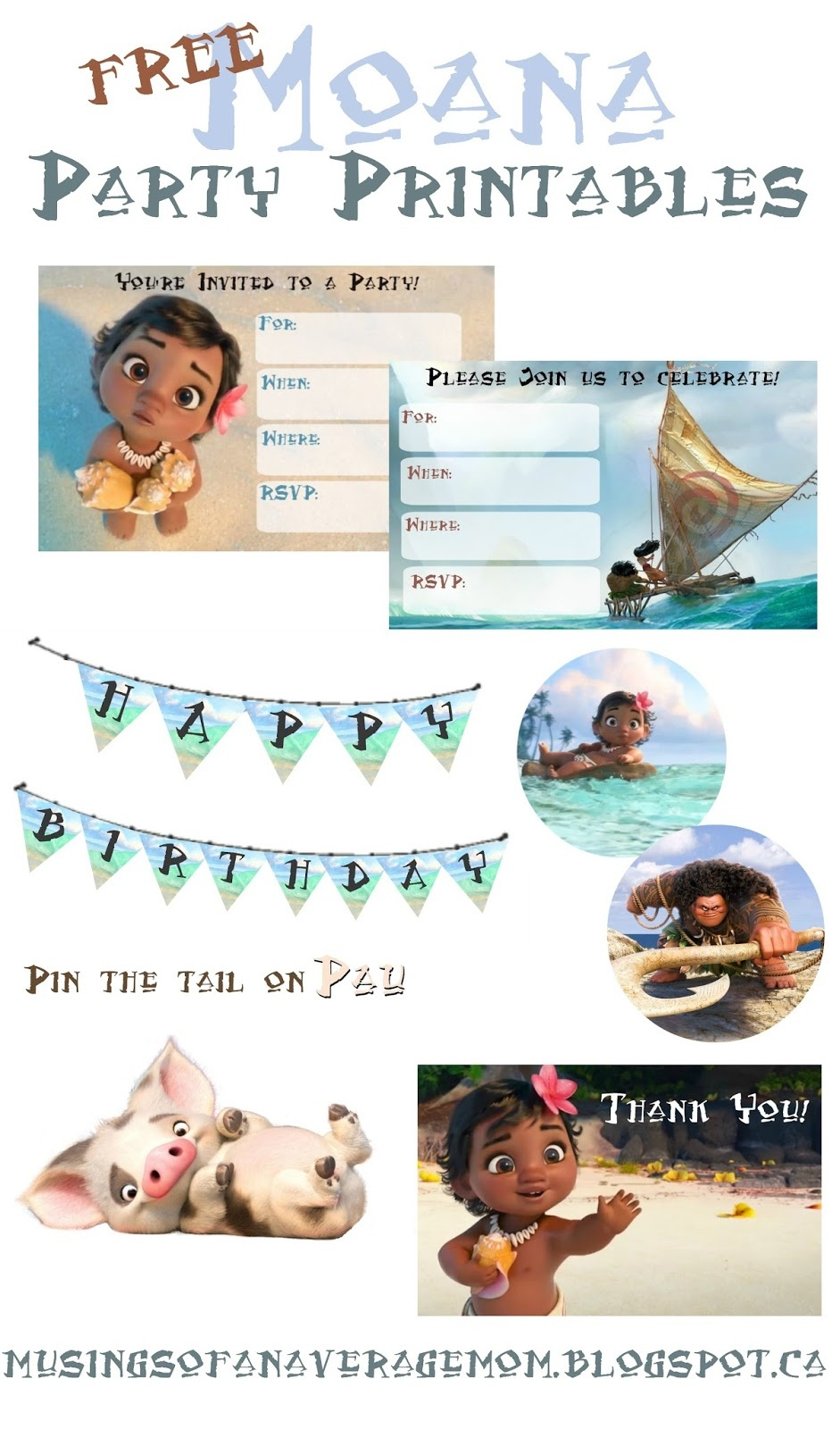 Musings Of An Average Mom: Moana Party Printables - Moana Free Printables