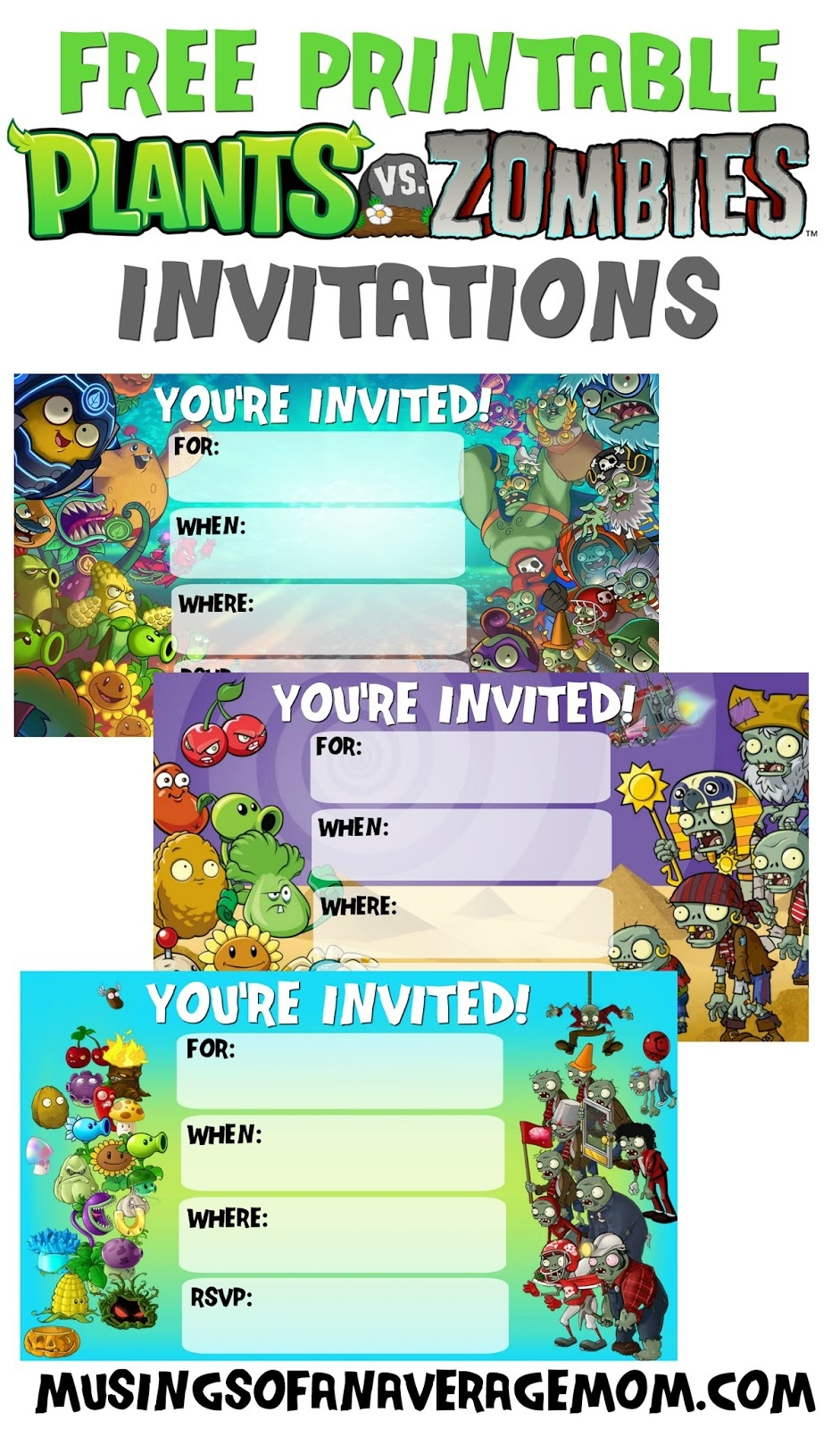 Musings Of An Average Mom: Plants Vs. Zombies Invitations - Plants Vs Zombies Free Printable Invitations