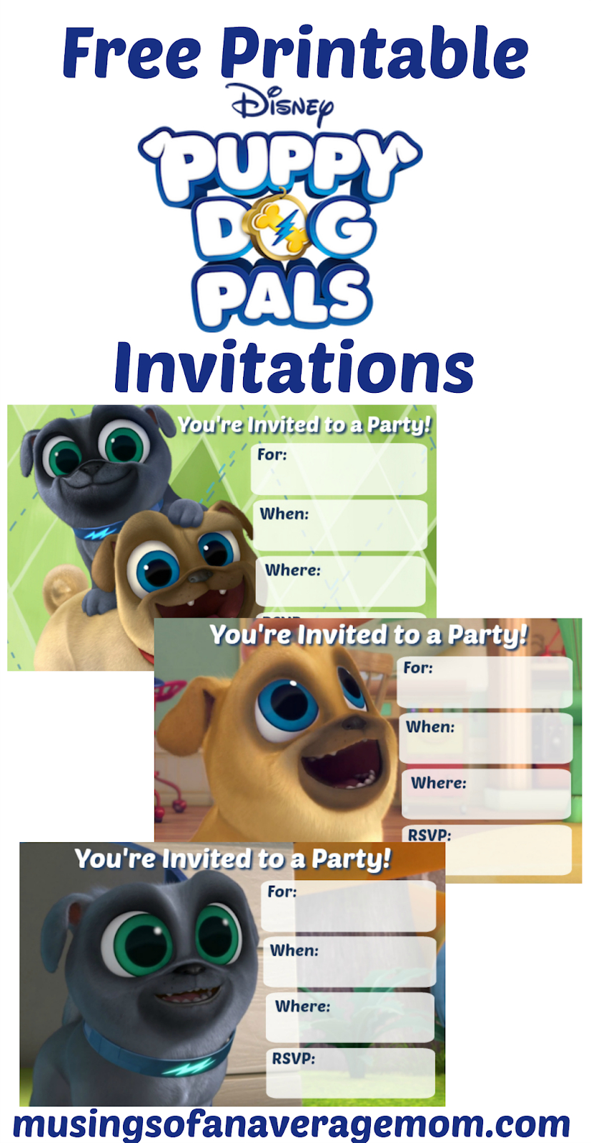 Musings Of An Average Mom: Puppy Dog Pals Invitations - Free Printable Puppy Dog Birthday Invitations