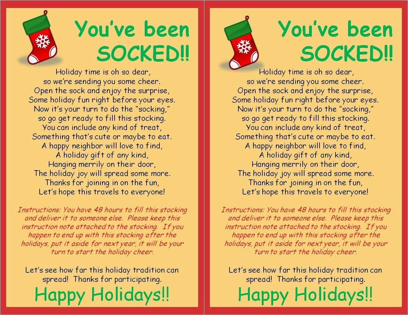 My Friend Stephanie And I Created This Fun Christmas Service - You Ve Been Socked Free Printable