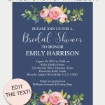 Navy Floral Printable Bridal Shower Invitation | Free Printables   Free Printable Bridal Shower Invitations Templates
