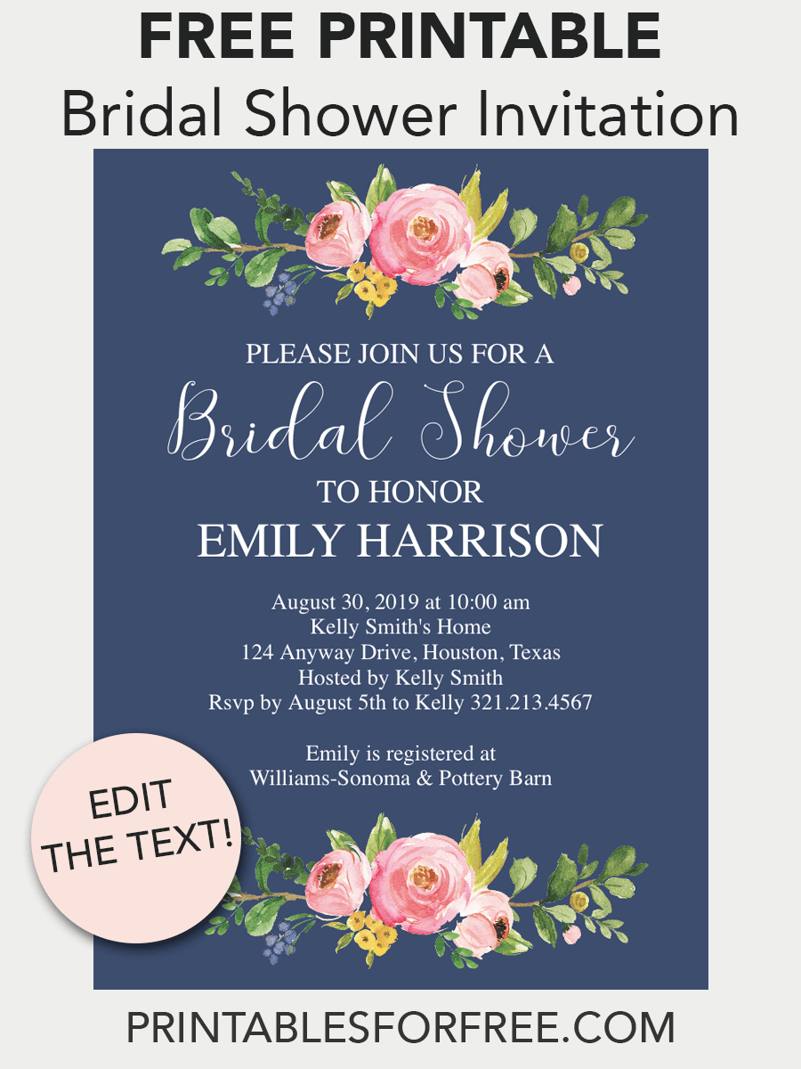 Navy Floral Printable Bridal Shower Invitation | Free Printables - Free Printable Bridal Shower Invitations Templates