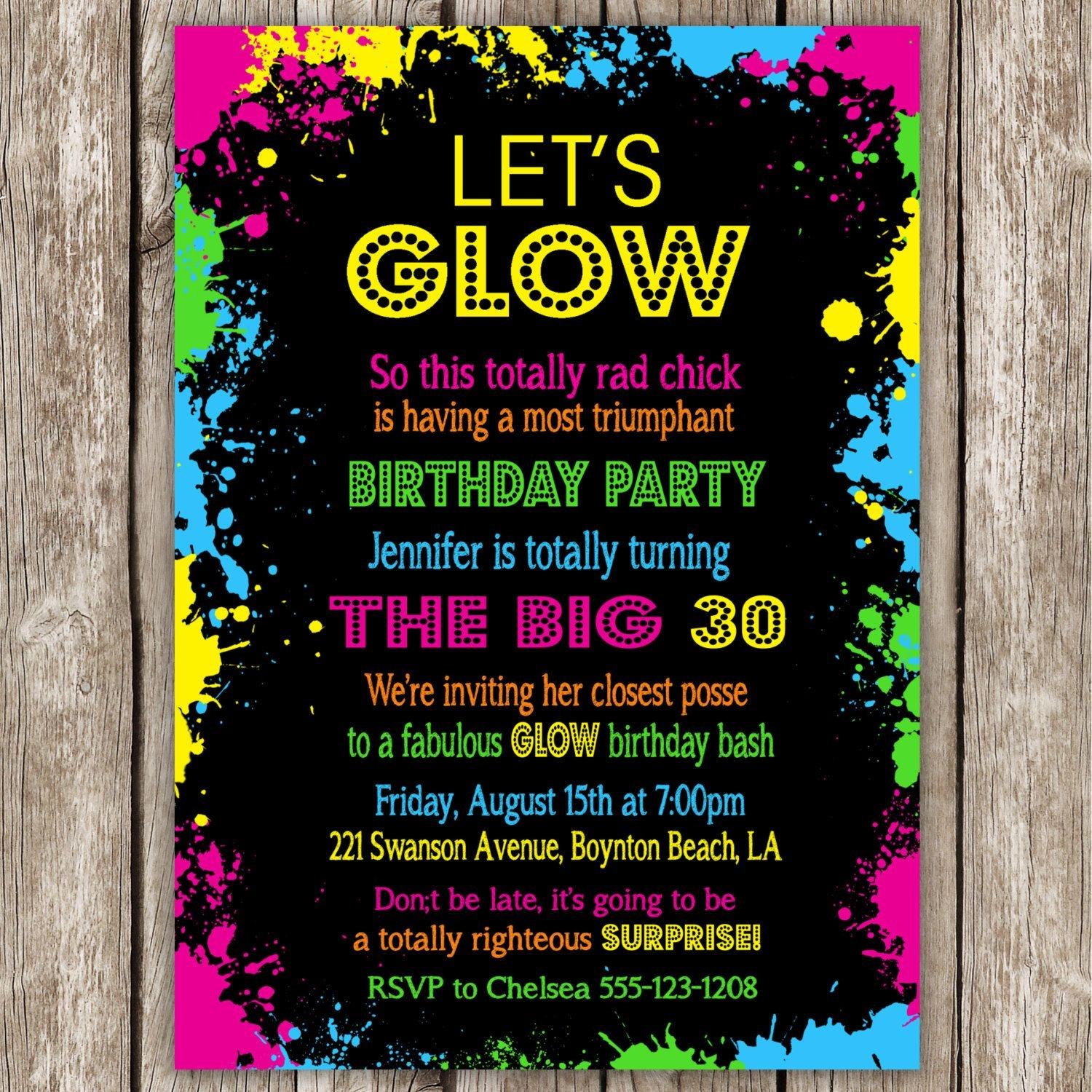 Neon Party Invitations Ideas | Projects To Try | Neon Party - Free Printable 80S Birthday Party Invitations