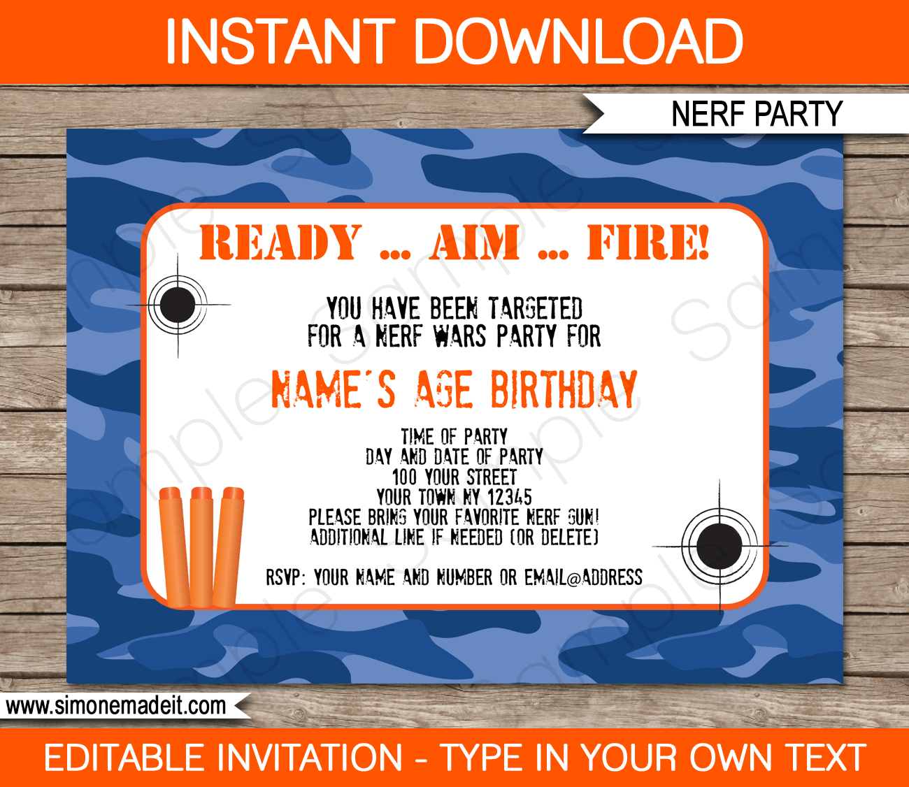 Nerf Party Invitations Template – Blue Camo | Boys Birthdays | Nerf - Free Nerf Printables