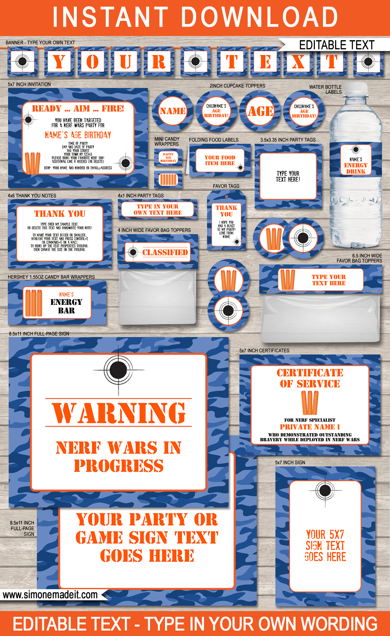 Nerf Printables | Blue Camo | Editable Birthday Party Templates - Free Nerf Printables