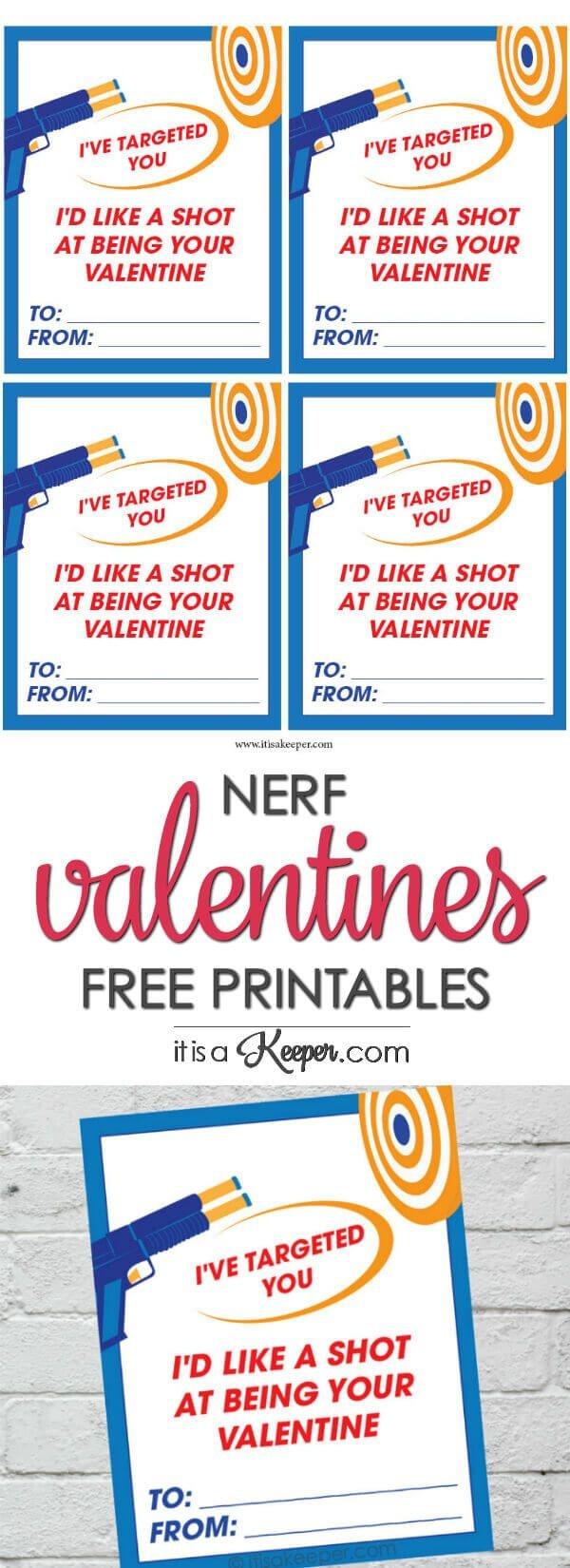 Nerf Valentine Printables - Free Printable Nerf Themed Valentines - Free Nerf Printables
