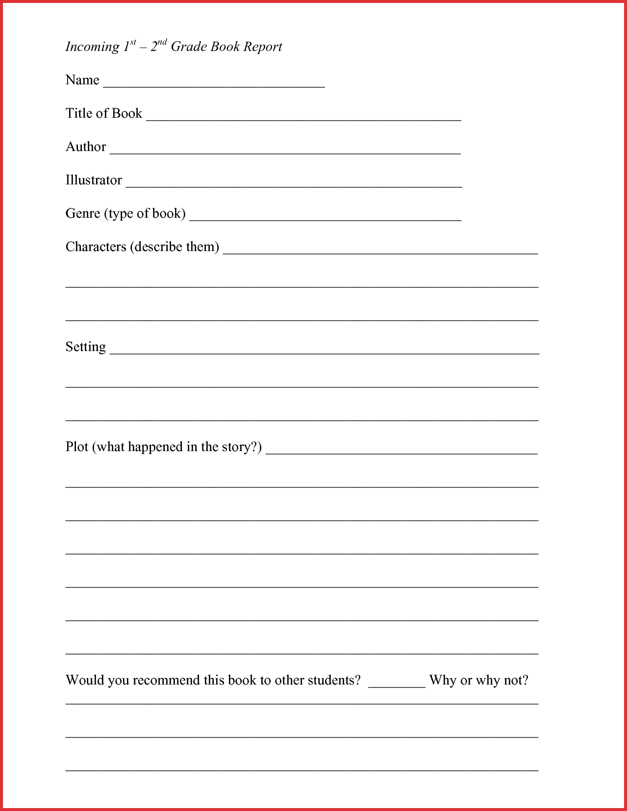 New 2Nd Grade Book Report Form | Job Latter - Free Printable Book Report Forms For Second Grade