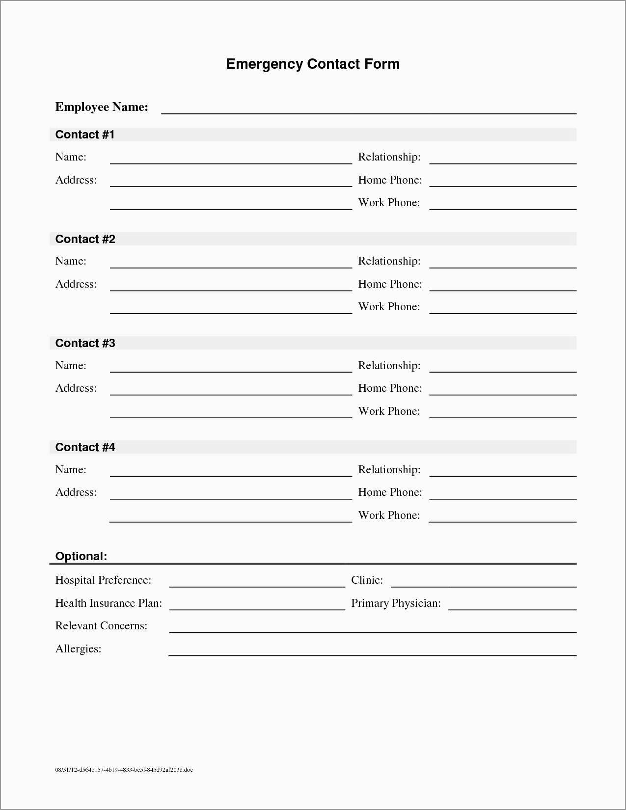 New Free Emergency Contact Form Template For Employees | Best Of - Free Printable Contact Forms