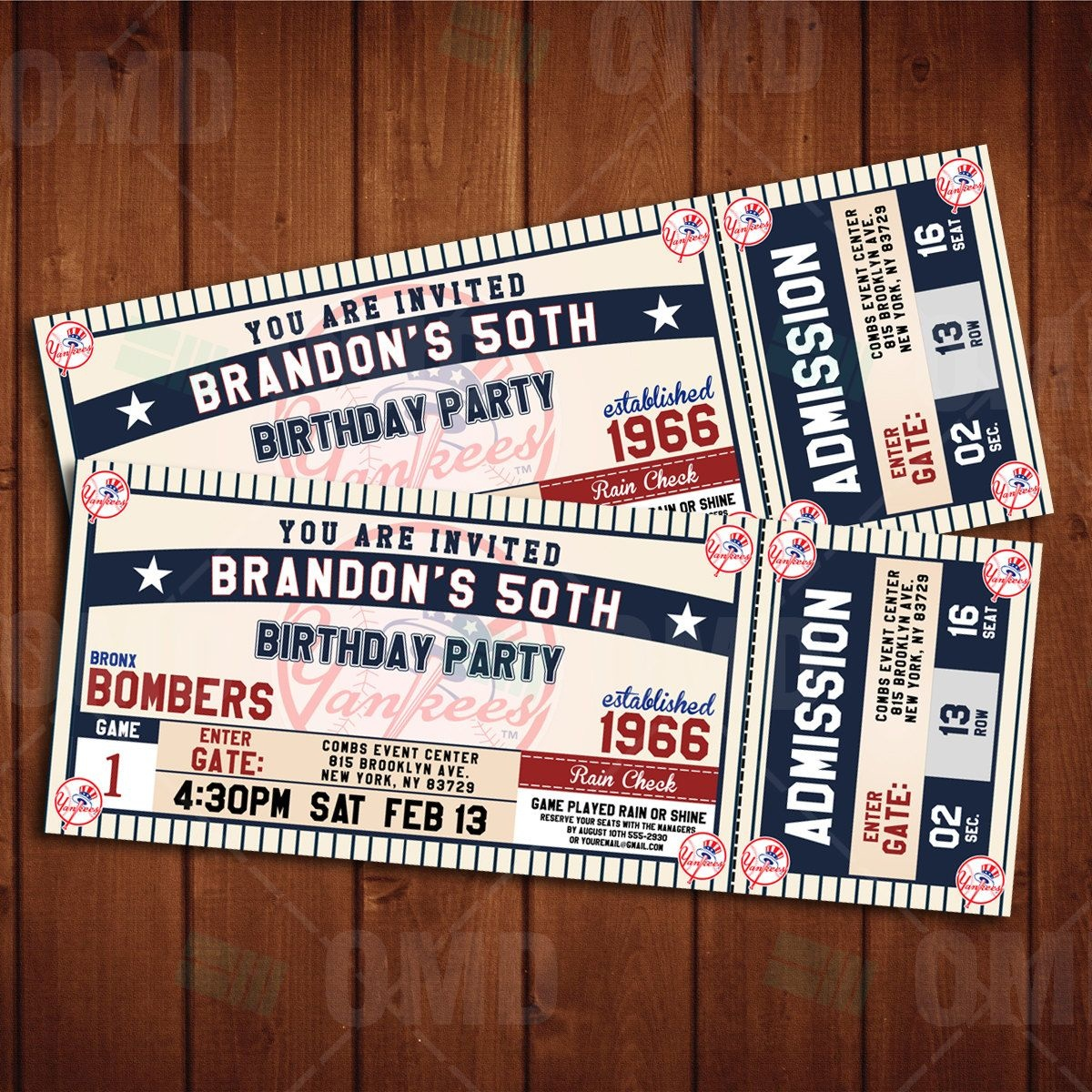 New York Yankees Classic Ticket Sports Party Invitations In 2019 - Free Printable Baseball Ticket Birthday Invitations