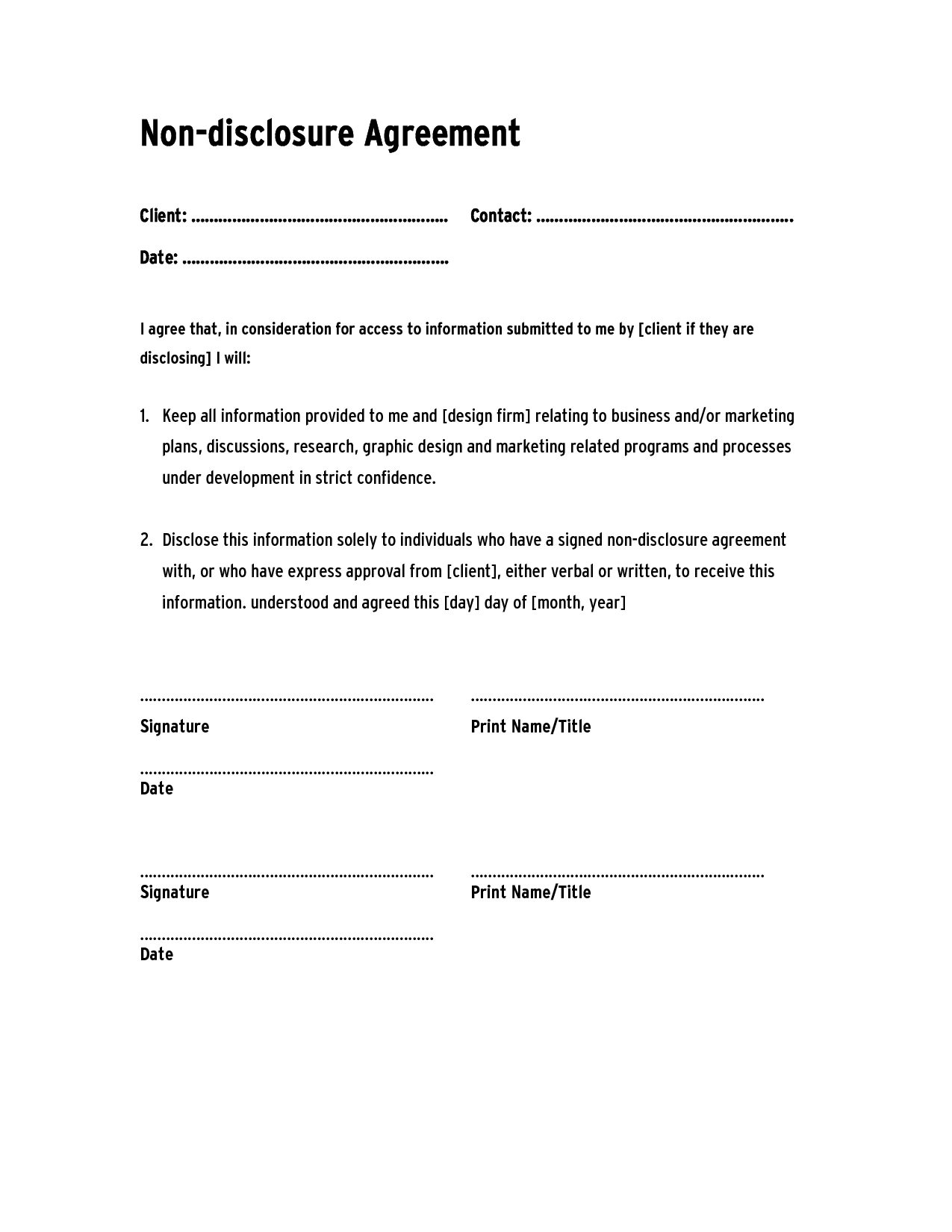 Non Disclosure Agreement Template ,confidentiality Agreement - Free Printable Non Disclosure Agreement Form