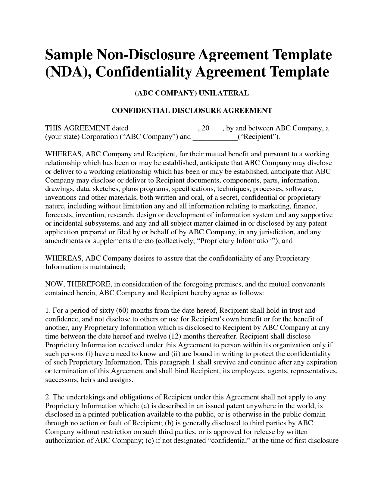 Non Disclosure Agreement Template Free Sample Nda Template Mvrsqrn - Free Printable Non Disclosure Agreement Form